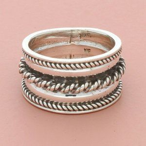 sterling silver braided cigar band ring